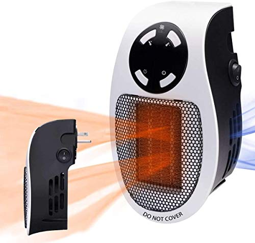 """Programmable Space Heater, with Led Display Wall Outlet Electric Heater with Adjustable Thermostat and Timer for Home Office Indoor Use 500 Watt ETL Listed (4.34"""")"""