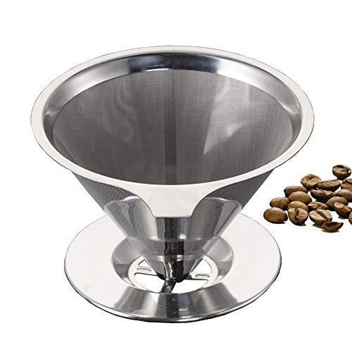 Bardland GLW-17 Permanenter Kaffeefilter Wiederverwendbare Handfilter aus Edelstahl mit Herausnehmbarem Inhalt für 4 Tassen AKTUALISIERTE Version