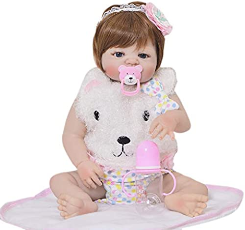 MCCW Reborn Baby Doll, das Looks Real Happy Teddy, 57 cm Girl in GentleTouch Vinyl, Safety Tested for Kids 3 +, 4-Piece Set