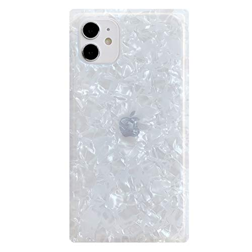 Compatible with iPhone 11 Case 6.1 inch Cute Marble Square Design Shockproof Cover Soft Silicone Rubber TPU Bumper Protective Phone Case for Women (White)