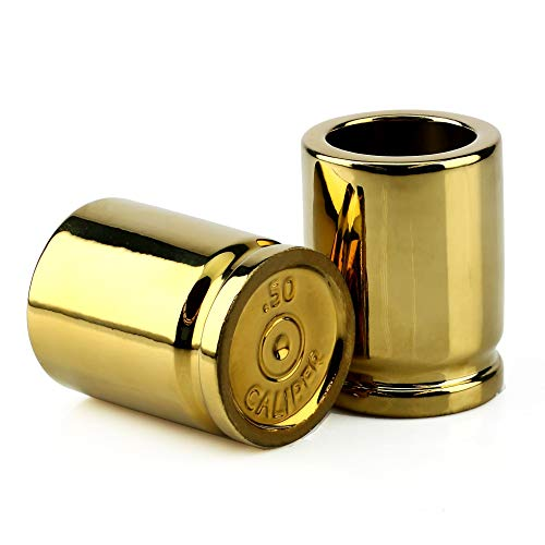 Barbuzzo 50 Cal Shot Glass – Set of 2 Shot Glasses Shaped like 50 Caliber Bullet Casings - Each Shot Holds 2 Ounces