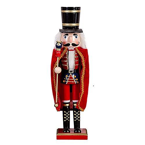 Schiaccianoci Soldato di Legno con Mantellina, 38 cm di Altezza, Burattino Dipinto a Mano Pupazzo, Statuetta Nutcracker Soldier Decorazione Regalo Natale per Bambini - Rosso