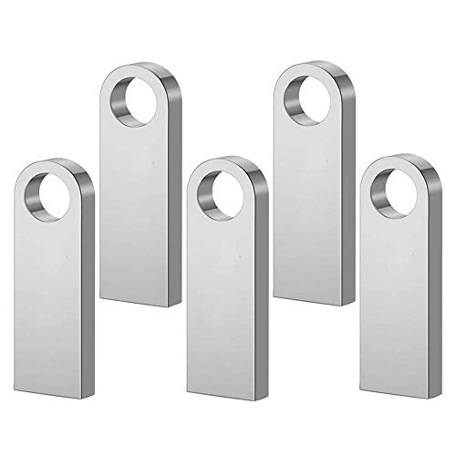 5 Piezas Memoria USB 64 GB Mini Pen Drive 64GB Metal U Disk USB Flash Drive para Computadoras, Tabletas Almacenamiento de Datos (Plata)