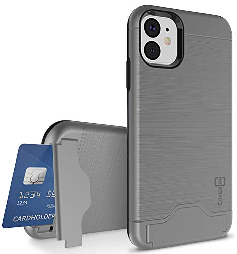 CoverON Protective Kickstand Credit Card Holder SecureCard Series iPhone 11 Case (2019), Gunmetal Gray