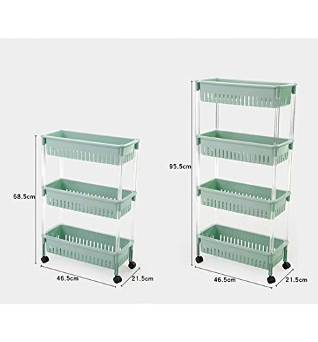 FCSFSF 4 Layers Kitchen Bathroom Storage Organizer Rack With Wheels 3 Layers Sewing Storage Rack Mobile Gap Storage Rack Wall Cabinet Tower,green, Khaki (color : Khaki, Size : 46.5 * 21.5 * 95.5cm)