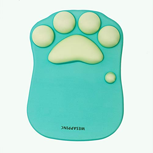 WESAPPINC Cat Paw Mouse Pad with Wrist Support Soft Silicone Wrist Rests Non Slip Ergonomic Mousepad for Office Computer Gaming Desk Decor (10.7x7.8x0.9'') (Green)