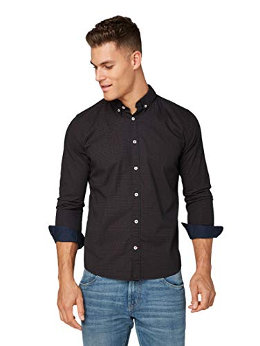 TOM TAILOR Herren Blusen, Shirts & Hemden Gemustertes Hemd Black red minimal Design,XL