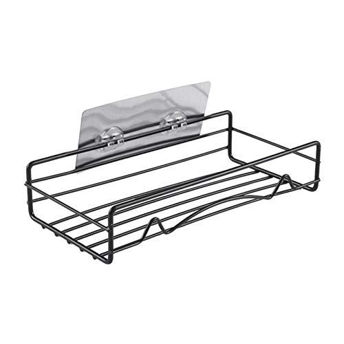 LRHYG Bathroom Shower Shelf Multifunction Stainless Steel Kitchen Bathroom Shower Shelf Makeup Storage Suction Basket Caddy Rack (Color : Black)