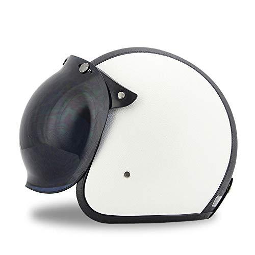 Woljay Cuir Moto Casque de Casque Moto Jet Scooter Touring Casque avec Bubble Shield Noir + Blanc (L)