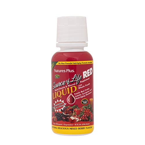 NaturesPlus Source of Life Red Liquid - 8 fl oz - Mixed Berry Flavor - Red Superfood Whole Food Multivitamin, Antioxidant - Anti-Aging Nutrients - Energy Boost - Vegetarian, Gluten-Free - 30 Servings