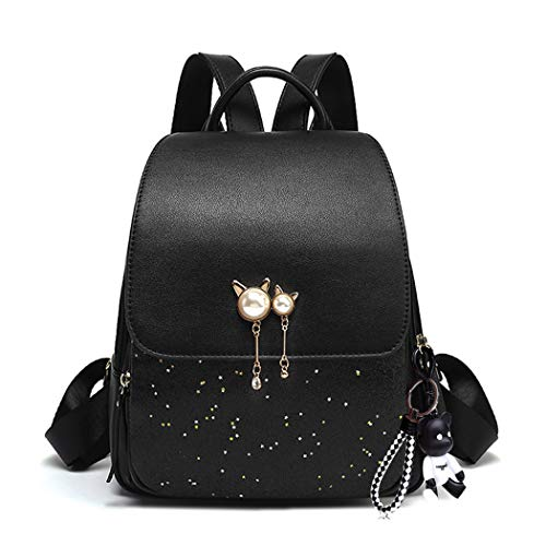 BUKESIYI Damen Tasche Rucksack Handtasche Frauen backpack Klein Anti Diebstahl Schulrucksack Laptop Weekender PU Leder CCDE78202 Schwarz