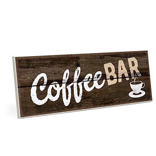 ARTFAVES Holzschild mit Spruch - Coffee Bar - Vintage Shabby Deko-Wandbild/Türschild