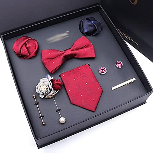 DYXYH Embalaje de Lazo de Negocios Formales para Hombres Embalaje de 8 Piezas Conjunto de Regalo Un Juego para un Padre Mayor o Marido y Novio (Color : A)