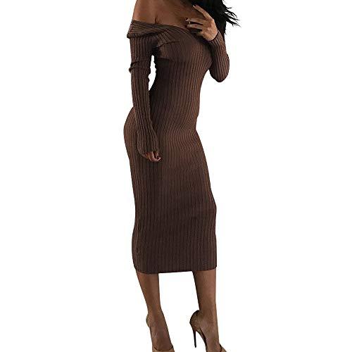Damen Winterkleid Elegant Schulterfrei Abendkleider Langarm Pullover Kleid V-Ausschnitt Herbstkleid Strickkleid Slim Maxikleid Bodycon Kleid Lang Ballkleid (M, Kaffee)