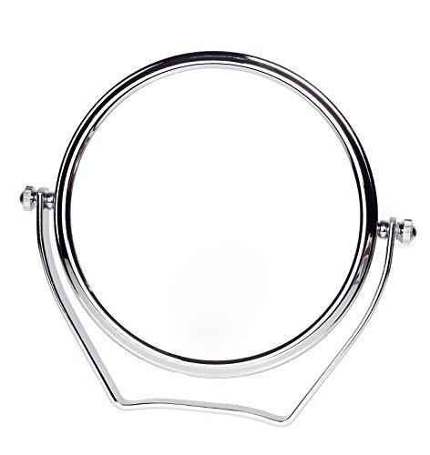 TUKA Miroir Maquillage Grossissement x10, 6 inch Compact Miroir Cosmétique sur Pied, chrome, Ø 15,3 cm, 100% et 1000% orientable sur 360°, Haute Qualité miroir de Table, TKD3102-10x