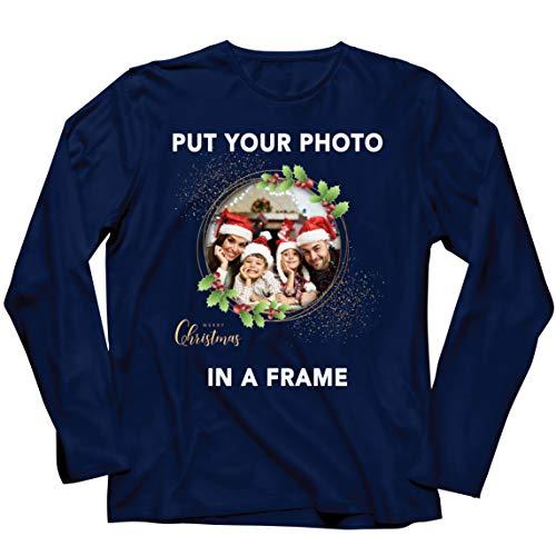 lepni.me Camiseta de Manga Larga para Hombre Marco Personalizado Vacaciones de Navidad Regalo Personalizado Foto...