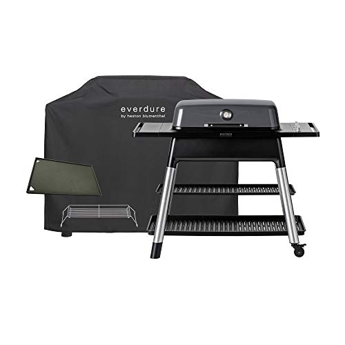 Everdure Furnace by Heston Blumenthal 3-Burner Liquid Portable Propane Gas Grill, Cover and Accessory Bundle: Die-Cast Aluminum Body, Graphite Grills Propane