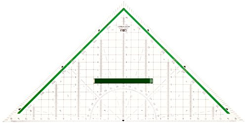 M + R 723320000 Geodreieck 32 cm glasklar hinterlegt, grün, 4004627233212