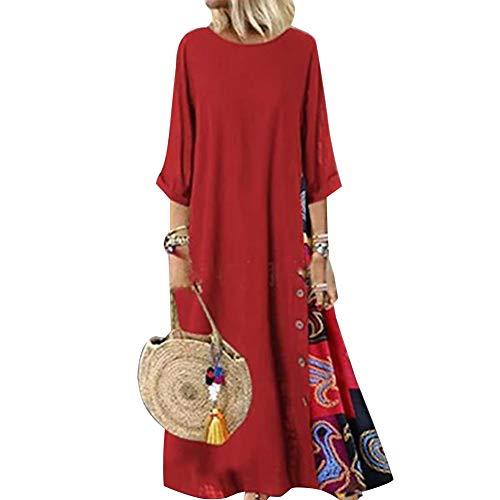 Carolilly Robe Maxi Longue Femme Grande Taille Ample Style Boho Manches 3/4,Rouge-b,5XL