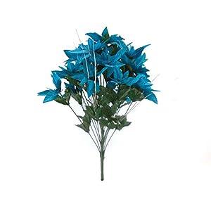 Turquoise Christmas Poinsettia Bush 24 Artificial Silk Flowers 24″ Bouquet DSF05