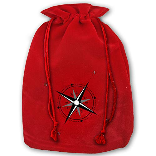 Reusable Santa Gift Compass Rose Christmas Bags, Present Bag with Drawstring Candy Pouch Red