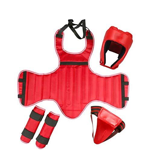 Yx-outdoor Karate bescherming set 4 stuks, pantser, legging, helm, Jockstrap, beginners volledige bereik van bescherming