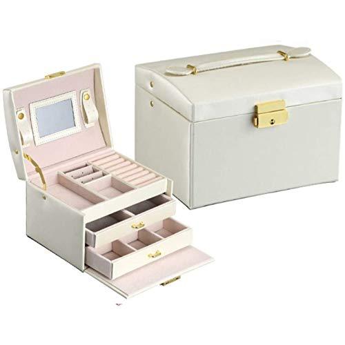ZHANG Caja de joyería, caja de almacenamiento de joyería de gran capacidad de cuero de la PU, caja de almacenamiento de la joyería del tipo del cajón de tres capas,