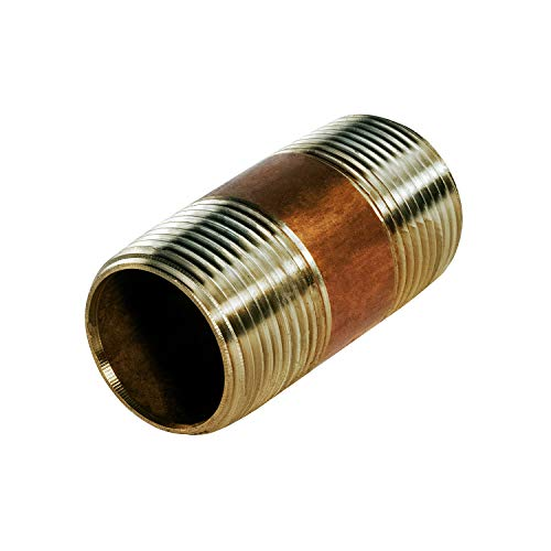 Everflow Supplies NPBR1520 2' Long Brass Nipple Pipe Fitting with 1-1/2' Nominal Diameter and NPT Ends