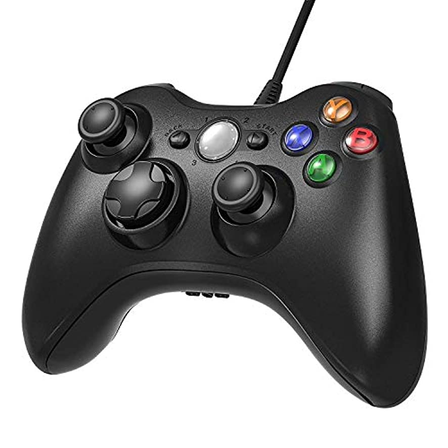 JAMSWALL Xbox 360 Game Controller Gamepad USB Wired Shoulders Buttons Improved Ergonomic Design Joypad Gamepad Controller for Microsoft Xbox & Slim 360 PC Windows 7 10