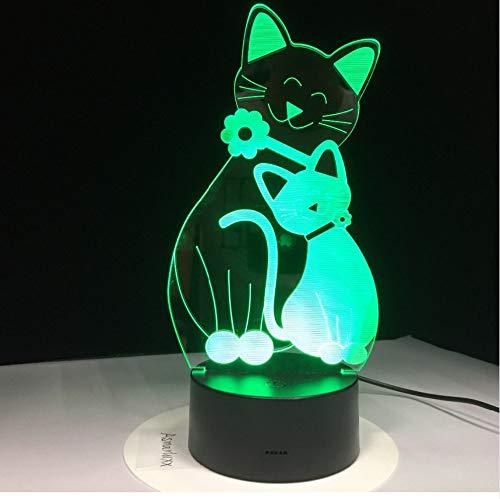 Chat mignon Kitty LED Lampe USB 3D Lampe 7 Couleurs Chambre Lumières Ambiance Décoration Lumière Cadeaux