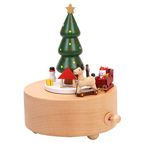 Caja de música de madera hecha a mano creativa artesanía, regalos de Navidad, para familia y amigos