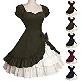 GLOA Women Medieval Dress, Lady Retro Falbala Large Swing Bowknot Lolita Dress Cosplay Costume Army Green XXXL