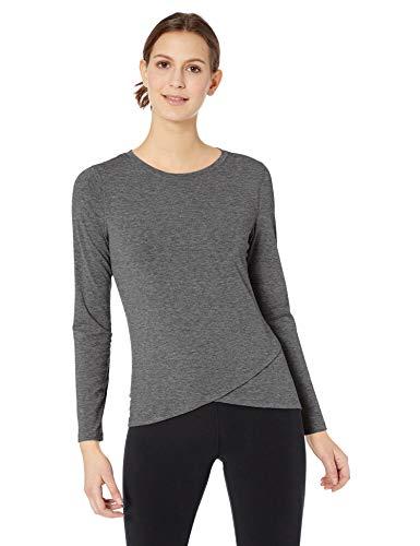 Amazon Essentials Studio Long-Sleeve Cross-Front T-Shirt Athletic-Shirts, Carbón Heather, US M (EU M - L)
