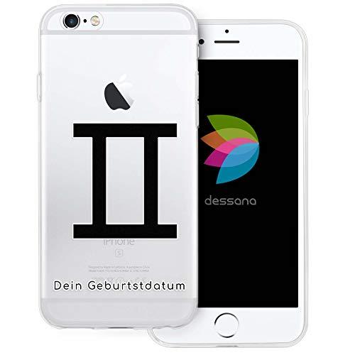 dessana sterrenbeeld met datum transparante silicone TPU beschermhoes 0,7 mm dunne mobiele telefoon soft case cover tas voor Apple, Apple iPhone 6/6S, Tweeling verjaardag
