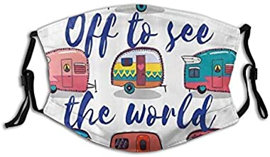 ERERSAN Face Cover Camper Off to See The World Inspirational On Mini Caravans Vintage Trip Balaclava Reusable Windproof Anti-Dust Mouth Bandanas Camping Motorcycle Running Neck Gaiter with 2 Filters