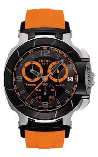 Reloj para hombre Tissot T0484172705704, T-Race, cronógrafo analógico, esfera negra