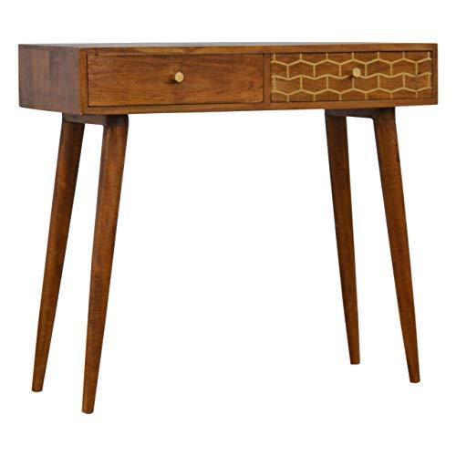 Artisan Furniture 2 Chestnut Writing Desk with Gold Patterned Drawer Front Schreibtisch, Mangoholz, kastanienbraun, One Size