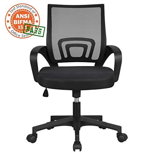 Yaheetech Bürostuhl Schreibtischstuhl ergonomischer Drehstuhl mit Rollen Chefsessel mit Mesh Netz Wippfunktion Höhenverstellbar