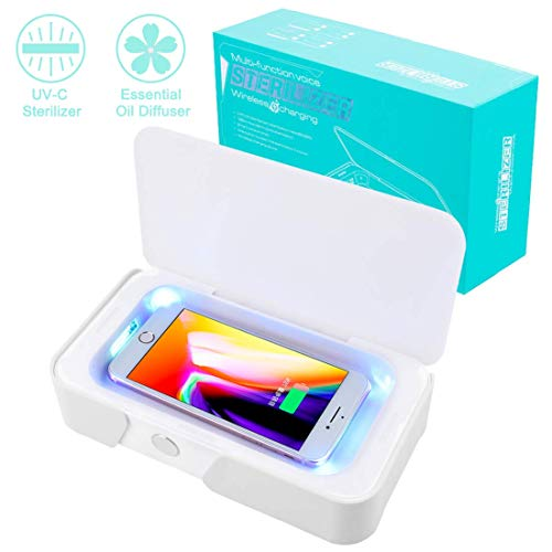 Smart Phone Sanitizer UV Sanitizer/Wireless Charger for Phone Multi-Function Cellphone Cleaner Sterilizer Box Portable for iPhone Android Devices Toothbrush Jewelry Watch-White (White01)
