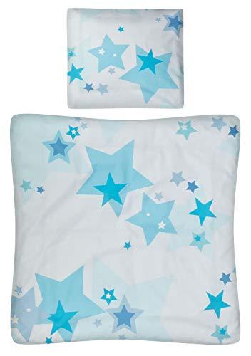 Aminata Kids - Baby-Bettwäsche-Set Bett-Decke 80-x-80-cm Kissen-Bezug 35-x-40 cm für Stuben-Wagen oder Kinder-Wagen Wiegen-Set Kinder-Decke Jungen und Mädchen 100-% Baumwolle hell-blau Weiss Stern-e