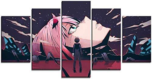 SESHA 5 Piezas Lienzo Poster Cuadros Modernos Impresión De Imagen Artística Digitalizada Querido Anime(Enmarcado)