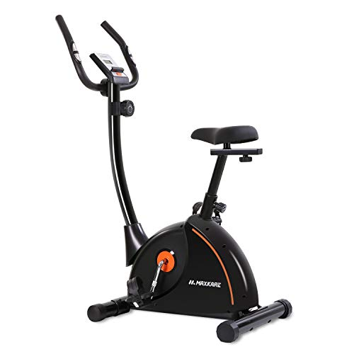 MaxKare Upright Exercise Bike Stationary Bike with Adjustable Cushion Seat and Magnetic Resistance Pulse Monitor Transport Wheels and Tablet Holder