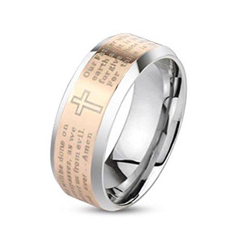 Tapsi´s Coolbodyart®|Statement Finger Ring Edelstahl Rose Gold Vater Unser Amen 6mm Breit 57(18)