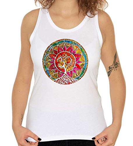 Colorful Meditation Tree Mandala Art Blanco Women's Tank Top T-Shirt S