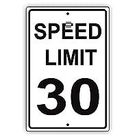 なまけ者雑貨屋 Speed Limit 30 MPH Miles Per Hour Black Letters Zone Slow Down Speeding 金属板ブリキ看板注意サイン情報サイン金属安全サイン警告サイン表示パネル 駐車標識 道路標識