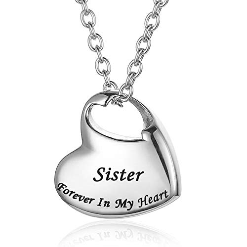 Cremation Urn Necklace for Ashes Urn Jewelry,Forever in My Heart Carved Locket Stainless Steel Keepsake Waterproof Memorial Pendant for mom & dad with Filling Kit (Sister)…