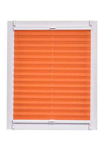 Sunlines Plissee Made in Germany, Tageslicht, Crepes Uni Klemmfix, Weisse Schiene, Stoff, Orange, 115 x 2.3 x 150 cm, 1 Einheiten