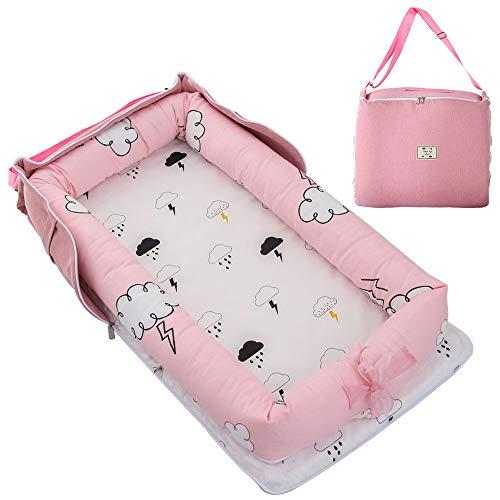 TEALP Reducteur de lit Bebe Cocon, réducteur Lit Bébé, Nid pour nouveau-né nourrisson, baby nest pour bébé couffin de voyage portable, nuage rose