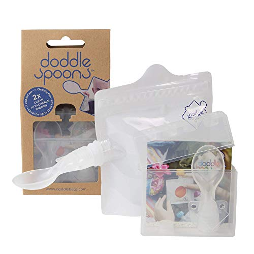 DoddleBags ~ Reusable DoddleSpoon Attachments for DoddleBags ECO Reusable Squeeze Pouches for Baby Food ~ 2 x Attachable Spoons, 1 x DoddleCase & 1 x Cleaning Pipe