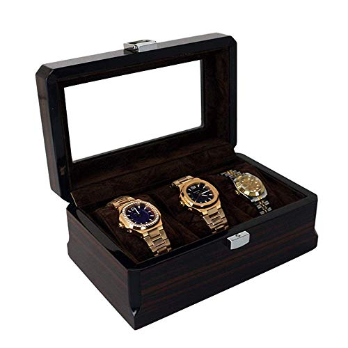 DLYGH Horloge opslag 3-cijferige Horloge Opbergdoos Verf Display Box Gift Houten Horloge Doos Hoge Normen (Kleur : Zwart, Maat : S)